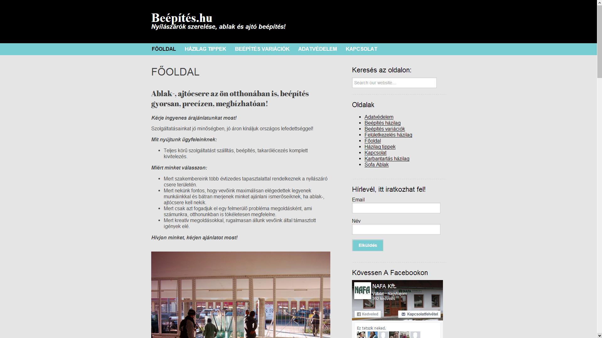 Beépítés.hu honlap Ajtók, Ablakok, Nyílászárók