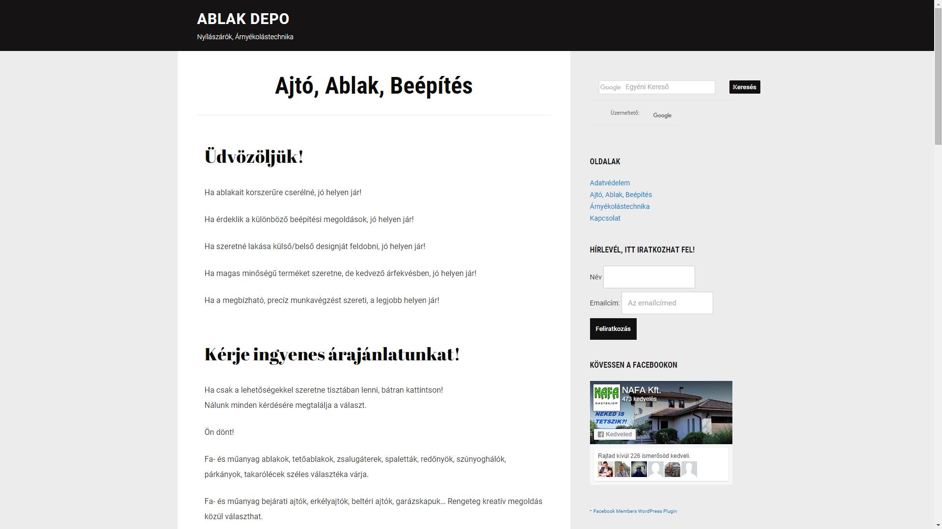 Ablak Depo.hu Nyílászárók, Árnyékolástechnika