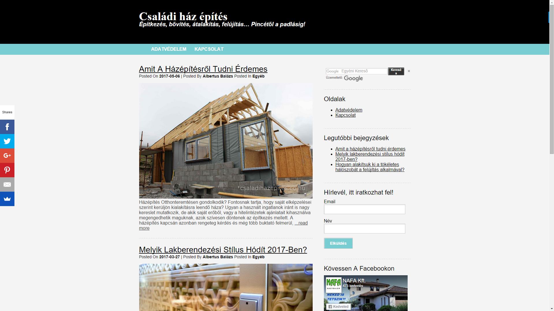 Családi ház építés.co.hu Építkezés, bővítés, átalakítás, felújítás... Pincétől a padlásig!